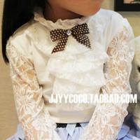 cotton shirt - 2015 Children T shirt Girls Lace sleeves Primer shirt Girls Cardigan