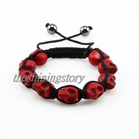 Wholesale skull shamballa bracelets beaded macrame bracelet Cheap fashion jewelry Shb010 handmade fashion jewellery