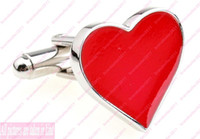 Wholesale Fashion Jewelry Cufflinks for Men Mens Cufflink Lover heart shaped Red Cuff button Accessories
