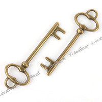 Wholesale 195pcs HOT KEY Shpae Vintage Charms Antique Bronze Tone Charms pendants Beads Pandents mm
