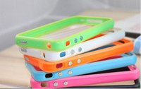 For Apple iPhone   Hard cases bumper silicone frame Cover Case for iphone 4 4GS with metal key many colors