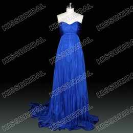 Wholesale Popular Sweetheart Blue Sleeveless Full Length Cheap Chiffon A line Celebrity Dresses Gown Zip Back