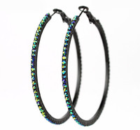 colorful large hoop earrings - New Fashion Large Hoop Earrings AB colorful diamond Beads mm