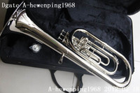 bb tuba - Professional Brass Super Bb BARITONE TUBA PISTON HORN SILVER Hot sale