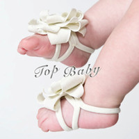 Wholesale foot flower foot wear cute girls shoe ties TOP BABY feet band baby shoes flower foot ties