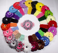 Headbands Cotton Floral Free Shipping 60pcs Crochet Headbands hat+60pcs Gerbera Daisy Flowers Baby Hairbows,Headbows