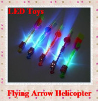 Wholesale LED Amazing flying arrows helicopter umbrella light parachute kids LED Arrow Helicopter Multicolor