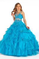 Wholesale Sexy New Halter Organza Beading Girls pageant Dresses Pick up Bow Ball Gown Custom Made Flower Girl Dresses PT1404