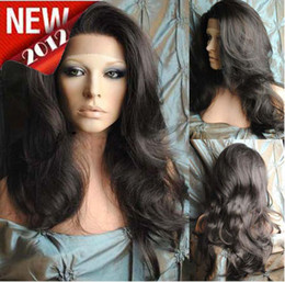Wholesale EMS DHL free2012 Sexy beautiful quot quot body wave Synthetic Heat Friendly Swiss Lace Front Wigs