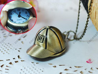 Wholesale vintage pocket watches for men women Baseball cap mens ladies necklace chain watch MIXED ORDER