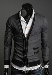 Wholesale New monde Men s Knitwear Cardigan Slim men s Sweatshirts men s Sweater False pocket gray