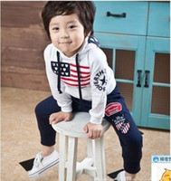 Wholesale spring autum baby boy outfit hoodies long pant american flag stars stripes desgin boy clothes set