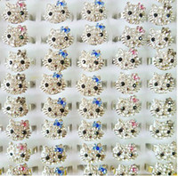 Wholesale 20pcs Hello Jewelry Kitty Rhinestone Crystal Silver Wedding Rings