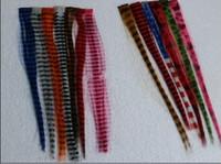 Wholesale 300pcs multi colour print hair synthetic print Clip in feather hair extension promotion sale unbt7