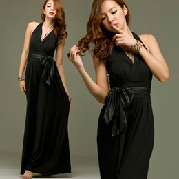 Indulge Daydream~Hot Womens Jumpsuits Sexy Deep V Neck Hlater Off Shoulder Wide Leg Jumpsuits Loose Overalls Long Pants Black With Belt