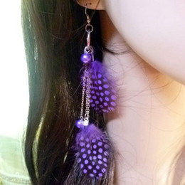 Beautiful peacock feather earings fashion jewelry long feather earrings with colorful spot