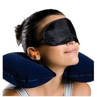 Wholesale U shaped Inflatable Neck pillow with blinder and earplug for travel pc set