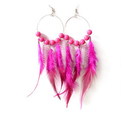 Beautiful peacock feather earings fashion jewelry basketball wives feather earrings colorful