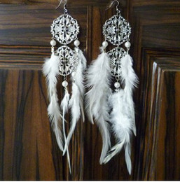feather extension Hollow tassel lace fashion jewelry feather earrings White