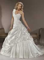 Cheap Novel Style Fashion One shoulder Ball Gown Bridal Gowns Stretch satin Wedding Dresses J1358