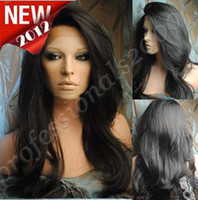 "Black Synthetic hair Body Wave 2012 New Gorgeous Beautiful!18"" - 28"" #1B Body wave Heat Friendly Synthetic Swiss Lace Front Wigs"