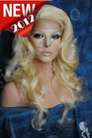 Wholesale 2011 New Gorgeours quot Body wave Blonde Indian Remy Human Hair Swiss Lace Front Wigs DHL FREE