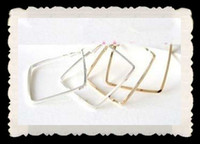 Wholesale 100PCS PR cm alloy gold hoop earring cheap earrings Simple lozenge square fashion ear ring