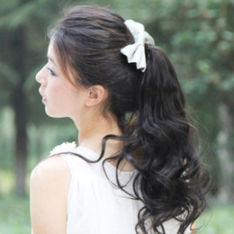 Wholesale 5pcs ponytails synthetic hair pieces colors for ladies similar to human hair