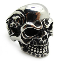 Wholesale 316L stainless steel gothic Men s PUNK biker skeleton silver stainless steel cool skull party ring