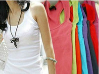 Wholesale 10Pcs High Quality Japan Korea Style Women s Candy Colors Cotton Long Vest Tank Tops CL001