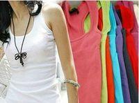 Wholesale 10Pcs High Quality Japan Korea Style Women s Candy Colors Cotton Long Vest Tank Tops CL001