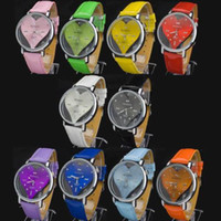 Wholesale EMS free ship best Round Face With Heart Build Fashion New Lady Women Quartz Wrist Watch PIZ73