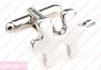 Wholesale Cufflinks for Men Mens Cufflink Fashion Jewelry puzzles Silver Cuff button tie clip Accessories