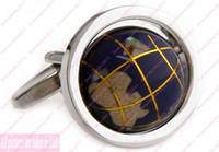 Wholesale Cufflinks for Men Mens Cufflink Fashion Jewelry Blue Globe marble Cuff button tie clip Accessories