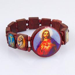 Brown Wooden Religious Bracelet Jesus Bracelets Rosary Beads Stretch Bracelet Religious Jewelry