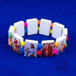 NEW Wooden Religious Bracelet White Wood Bracelets Rosary Beads Stretch Bracelet Religious Jewelry