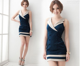 Wholesale Hot New Dresses Women s Dresses Women s Clothing Japanese Eur and the USA Retro Double breasted Lapel Sexy Dress N415