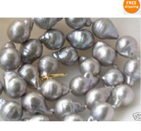 Wholesale Stunning south sea SILVER GREY BAROQUE PEARL NECKLCE K