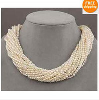 Wholesale 12 strands AAA white seed pearl twisted necklace quot