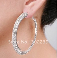 Wholesale Silver Polish Row Basketball pair wives Hoop Earrings crystals