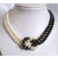 Wholesale mignon AAA akoya mm black white natural pearl necklace