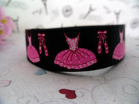 Wholesale quot Ballet Shoes Grosgrain ribbon print ribbon ribbon for hair bow ribbon bow black