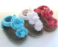 Baby crochet flower sandals first walker shoes 0- 12M double ...