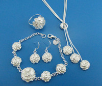 Wholesale lowest price fashion silver charm Beautiful ROSE New Earring Bracelet Necklace Ring Set jewelry