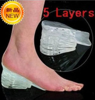 Wholesale 5 Layers Taller Insole Silicone Gel Inserts Lift Shoe Pads Height Increase