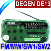 emergency radio - Top Quality FM Radio DEGEN DE13 FM MW SW Crank Dynamo Solar Emergency Radio World Receiver A0798A