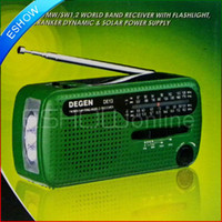 Wholesale DHL FM Radio DEGEN DE13 FM MW SW Crank Dynamo Solar Emergency Radio World Receiver A0798A