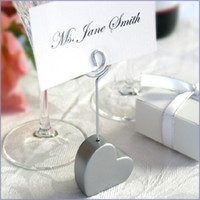 Wholesale Great Silver Heart Shape Place card Holder Wedding Favors with