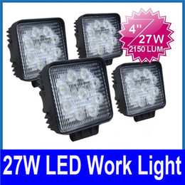 "2017 wholesale fog lights 50PCS 4"" 27W 9-LED*(3W) Working Light Off-Road SUV ATV 4WD 4x4 Spot   Flood Beam 2150lm 9-32V JEEP Truck Driving Fog Lamp High Power Bright cheap wholesale fog lights"