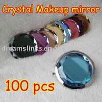 Wholesale Folding metal crafts double sides Multi color Pocket crystal Makeup Mirror